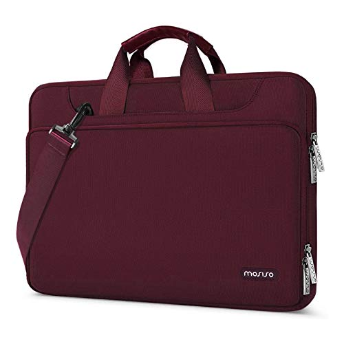 MOSISO 360 Protective Laptop Shoulder Bag Compatible with 13-13.3 inch MacBook Air, MacBook Pro, 13.5 Surface Laptop, Surface Book, Water Repellent Sleeve Case with Trolley Belt, Wine Red