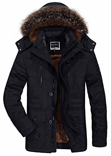 SZYYSD Herren Winter Warm Baumwolle Militär mit Kapuze Jacken Mäntel Mens Military Hooded Coat Jacket Parka (EU/DE Medium, Schwarz)