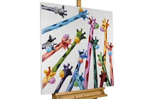 KunstLoft® Gemälde 'Von Oben' 80x80cm | Leinwandbild handgemalt | Bunte Giraffen Tiere für Kinderzimmer | signiertes Wandbild-Unikat | Acrylgemälde auf Leinwand | Original Acrylbild auf Keilrahmen
