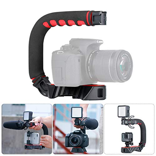 ULANZI U-Grip Pro Equipo de Video portátil Steadicam Triple Zapato frío Compatible para iPhone XS XR XS Máx. 8 7plus GoPro 7 6 5 Canon Cámaras DSLR Nikon Trípodes