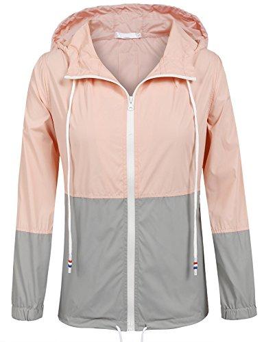 Unibelle Damen Regenjacke Regenmantel Wiederverwendbar Wasserdicht Atmungsaktiv Wandern Regencape Pink XL