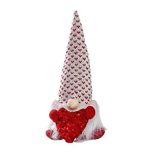 JumpXL Gnomo del día de San Valentín con elfos brillantes enanos de felpa sin rostro muñeca de amor decoración sueca Nisse escandinava Tomte hecho a mano el día de San Valentín regalos creativos