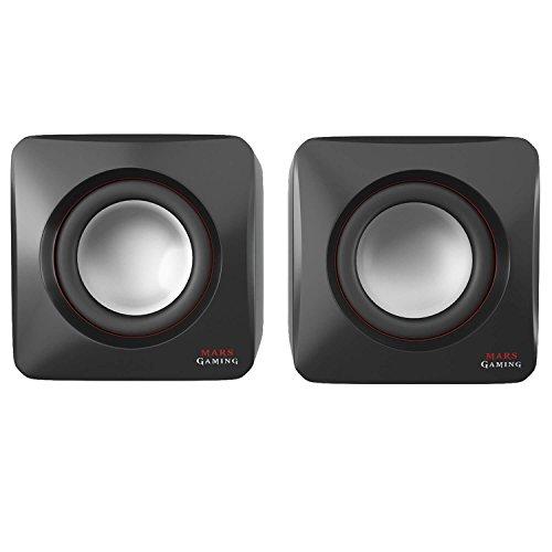 MARS GAMING MAS0 - Gaming-Lautsprecher (8W Leistung, kompakte Größe, optimierte Bassleistung, 2.0-Kanal-System, 3D-Sound, USB, 3.5mm Klinke, PC/Mac / Smartphone/Tablet), schwarz und rot
