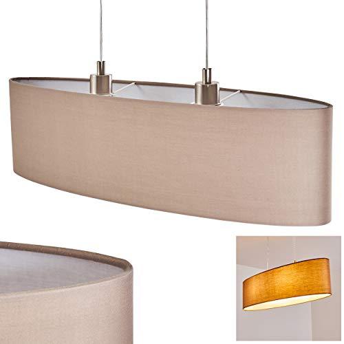 Pendelleuchte Arwangen, Hängelampe aus Metall in Nickel-matt m. Leuchtenschirm aus Stoff in Cappuccino/Weiß, 2-flammig, 2 x E27 max. 40 Watt, Höhe max. 124 cm, Hängeleuchte für LED geeignet