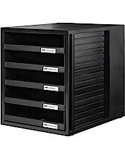 Han - Cajonera de oficina (5 compartimentos abiertos, con etiquetas, tamaño C4, 275 x 320 x 330 mm), Negro