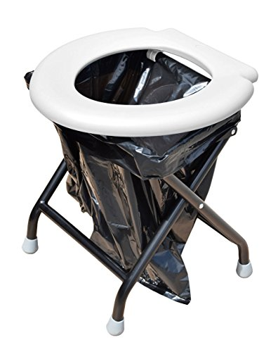 24ocean Mobile Klapptoilette Metallgestell WC Klo Camping, Weiß/Schwarz - Einweg, 30 Schwarze Beutel