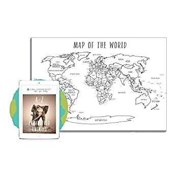 Global Guardian Project World Map Coloring Poster - Large Educational Wall Map for Homeschool Teachers Tool Tutoring - Pre-K Kindergarten Middle School  36x24