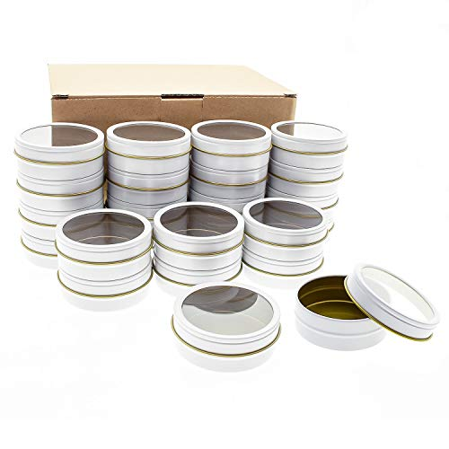 Mimi Pack 24 Pack Tins 1 oz Shallow Round Tins with Clear Window Lids Empty Tin Containers Cosmetics Tins Party Favors Tins and Food Storage Containers (White)