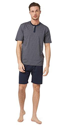 TOM TAILOR Underwear Herren Shorty, 2-Knopfv. Zweiteiliger Schlafanzug, Blau (Blue-Dark-horizontal Stripe 632), XX-Large (Herstellergröße:56/XXL)