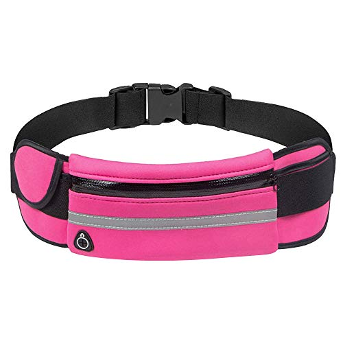 Haluoo Unisex Runners Belt Waist Bag,Ultra Thin Waterproof Anti Theft Zipper Fanny Pack for Outdoor Sport Hiking Running Jogging Fitness Backpack Cell Phone Pouch Holder Slip Proof (Pink)