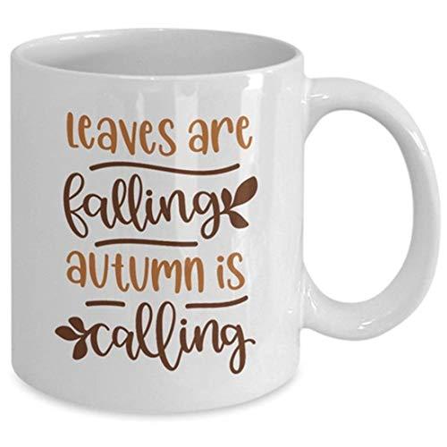Tazza da caffè con scritta 'Fall Fall Falling', idea regalo per gli amanti dell'autunno, tazza di cioccolato, tazza autunnale, foglie che cadono in autunno