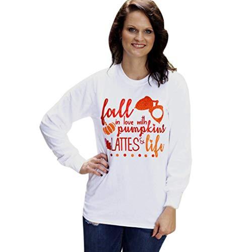 VEMOW Heißer Herbst Damen Frauen Halloween Kürbis Print Lässige Tägliche Party Cosplay Langarm Sweatshirt Pullover Tops Bluse Shirt(Weiß, 36 DE/S CN)