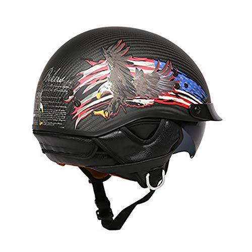 Casco Abierto Certificado Dot/ECE con Protector De Cuello Medio Casco Casco De Motocicleta Harley Vintage Casco Unisex Cruiser Machete Piloto Ciclomotor Casco Al Aire Libre