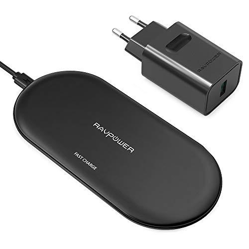 RAVPOWER - Caricabatterie Wireless a 4 Bobine + Adattatore QC 3.0