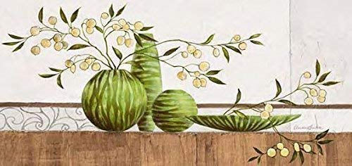 Keilrahmen-Bild - Claudia Ancilotti: Lamu 55 x 115 cm Leinwandbild modernes Stillleben Landhaus Vasen grün floral