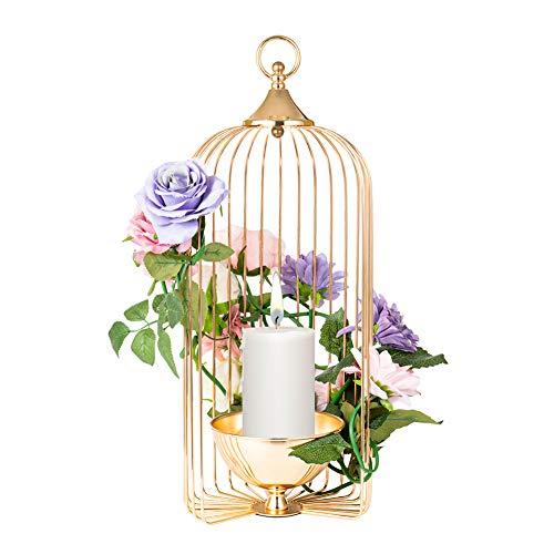 AHUA Kerzenhalter in Vogelkäfig-Form, Metall, groß, Vogelkäfig, Kerzenhalter, Hochzeit, Deko, Vogelkäfig, Kerzenhalter, für drinnen und draußen