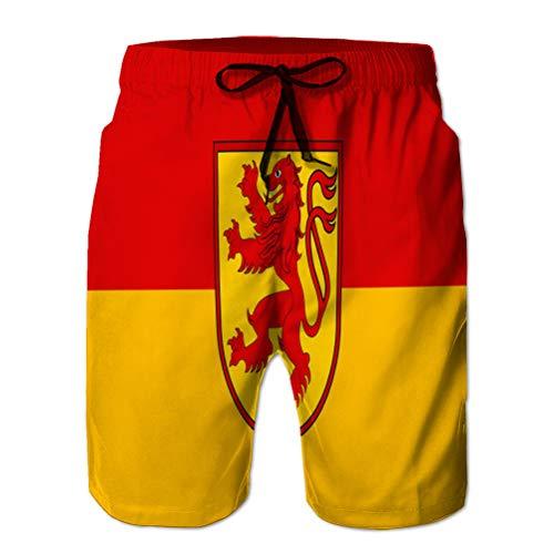 Herren Sommer Badehose Quick Dry Board Beach Shorts Flagge von Luenen in Nordrhein Westfalen Deutschland