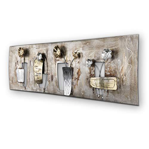 mosa designs Wanddeko Metall modern Gold Blumen - Silber, Bronze, Gold Deko Wohnzimmer Wandbild 120x40cm