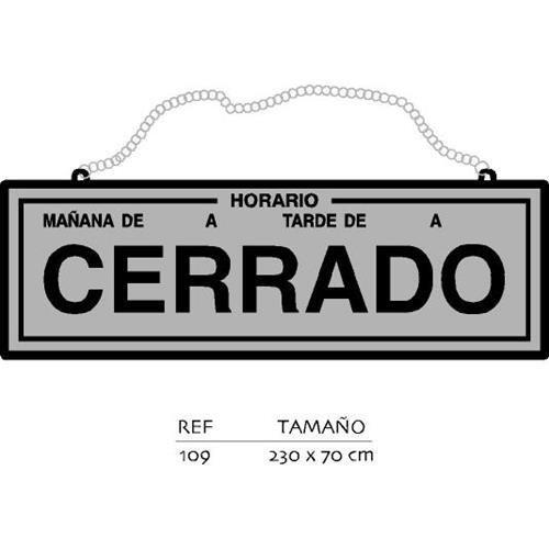 Rotulauto - Placa Abierto-Cerrado Con Horario Pl.