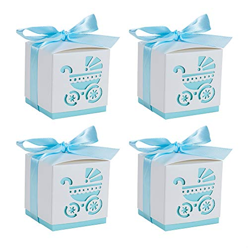 BENECREAT 50 Sets Candy Geschenkboxen Hohl Kinderwagen BB Auto Wagen Pralinenschachtel mit Band für Taufe Dekorationen Hochzeit Geburtstag Party-Event, Himmelblau