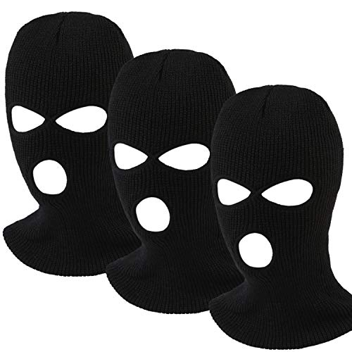 Aneco 3-Hole Knitted Full Face Cover Ski Mask Adult Winter Balaclava Full Face Mask for Winter Outdoor Sports Black