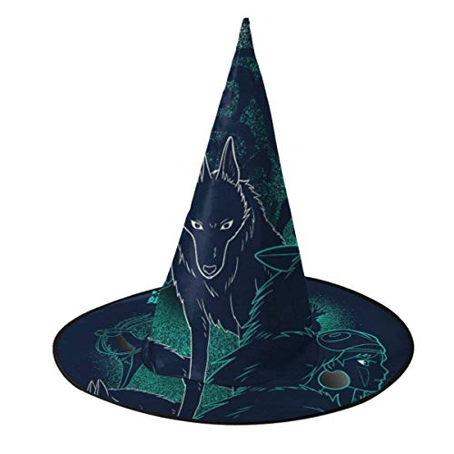 Sombrero de Halloween Princesa Mononoke Bosque Espritu Silueta Sombrero de Bruja Halloween Unisex Disfraz para Vacaciones Halloween Navidad Carnavales Fiesta
