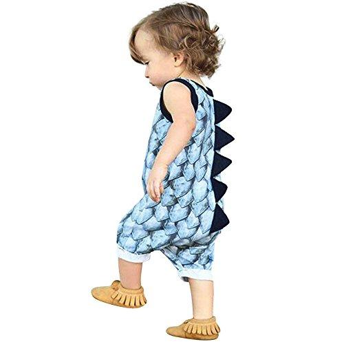 Vovotrade® Nouveau-né Infantile Bébé Fille Garçon Infant Baby Girl Boy Dinosaure Combi-Short Combinaisons Tenues Ensemble de Vêtements Jumpsuit Outfits Clothes Set (Blue, 18M)