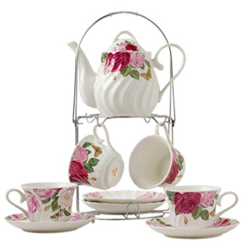 Tea Cup And Saucer Gift Set European Ceramic Tea Sets Coffee Set With Metal Holder Wedding Tea Service For Adults With Pink Rose Painting British Afternoon Coffee Tea Pot Cups B