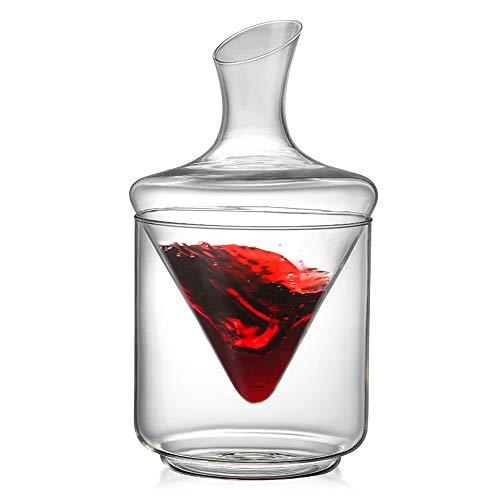 YUXIAOYU Set de Decantador de Vino, Decantador de Vino de 1000 ml con Cubo de Hielo Soplado a Mano de Cristal sin Plomo Hogar, Bar y Fiestas