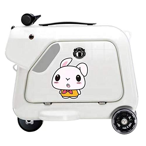 AAGYJ KidsChildren's Luggage Box, Riding Box, Travel Artifact Boarding Toy, Smart Handle Hi-fi Music Flash Wheel 15L Large Capacity Trolley Case, Children's Suitcase,White