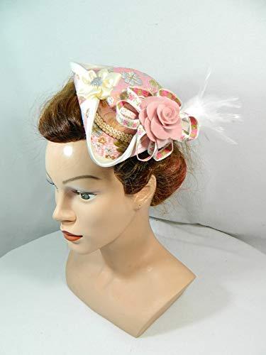 Mini Dreispitz rosa Brokat Marie Antoinette Barock Rokoko Western Headpiece Haarschmuck Dirndl...