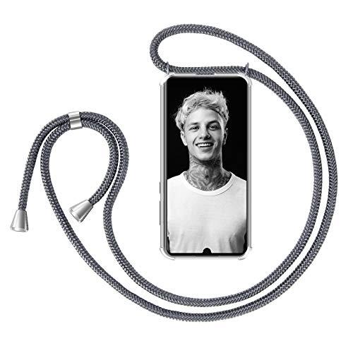 ZhinkArts Handykette kompatibel mit Huawei P30 Pro - Smartphone Necklace Hülle mit Band - Handyhülle Case mit Kette zum umhängen in Dunkelgrau