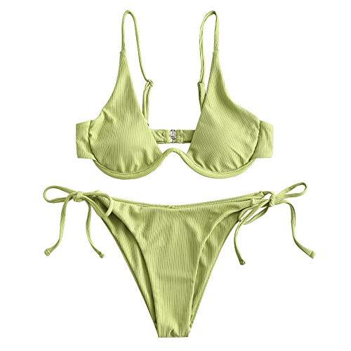 ZAFUL Damen Bügel gerippt Push Up Bikini Set Tie Side Bademode(Grün,S)