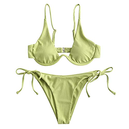 ZAFUL Damen Bügel gerippt Push Up Bikini Set Tie Side Bademode(Grün,S)