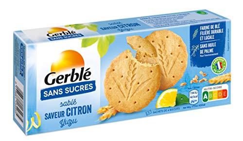 Gerblé Sablés Citron Yuzu Sans Sucres, Sans huile de palme, 12 biscuits, 132 g, 200937