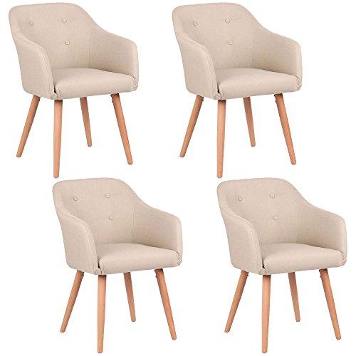 Kingpower Esszimmerstühle 2er, 4er, 6er, 8er Set, Polsterstuhl Sessel mit Armlehne, Auswahl:4 Sessel - beige