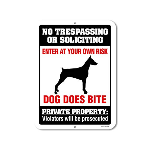 No Trespassing or Soliciting Dog Does Bite - 9 x 12 inch Metal Aluminum Novelty Sign Decor, Beware of Dog Sign - Made in The USA