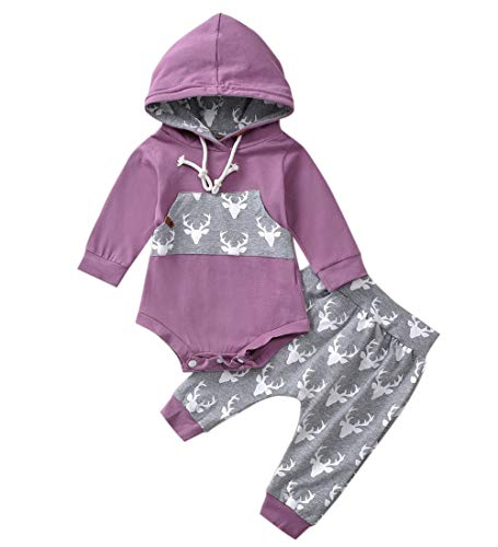 Newborn Baby Boy Girl Long Sleeve Deer Romper Pullover Hooded Tops Pants 2Pcs Sweatshirt Outfits Set (Purple, 0-6 Months)