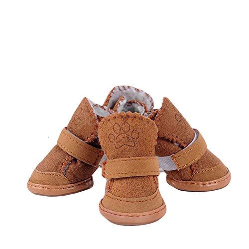 Beste Dagboek Winkel Warm Fleece Hond Schoenen Winter Suede Verstelbare Anti Slip Huisdier Booties Dos Comfortabele Kat Laarzen, M - 2, Koffie