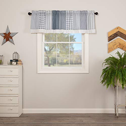 VHC Brands Sawyer Mill Blue Farmhouse Window Panel Set for Living Room or Bedroom with Attached Valance