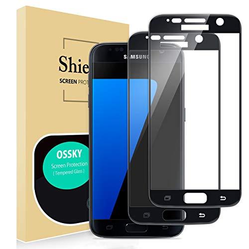 Ossky Panzerglasfolie kompatibel mit Samsung Galaxy S7 2.5D Full Cover Glas, 9H Gehärtetes Glas, Ultraklar, Anti-Fingerdruck, Blasenfrei, Displayschutzfolie für Galaxy S7 - [2 Stück]