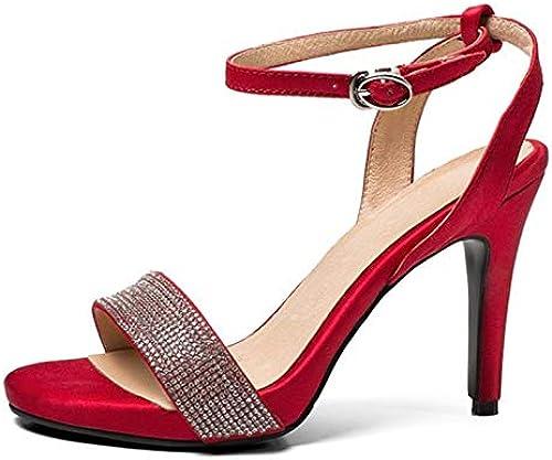 LFDGGX Peep Toe Rouge Sandales Femmes Soie Boucle Strap De Mariage Thin Talons Mode Femmes Sandales Cristal Manuel Femmes Talons