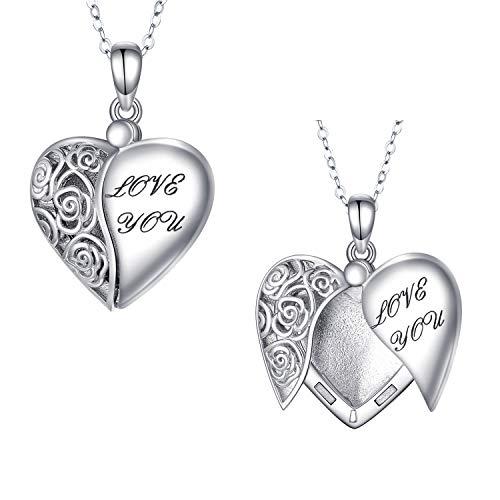 Herz Medaillon Foto Kette Herz Anhänger Winkel Flügel Halskette 925 Silber Personalisierte Kette mit Bild Rose Blume Geschenk für Damen Frauen Mädchen Mutter