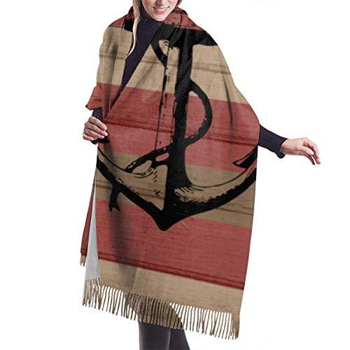 N / A Rustikale Rot- und Brauntöne Nautische Streifen und Anker Damenmode Langer Schal Winter Warmer Großer Schal 192 x 68 cm