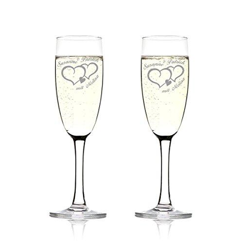 Set de verres de champagne avec gravure Motiv – Deux cœurs avec petit coeur