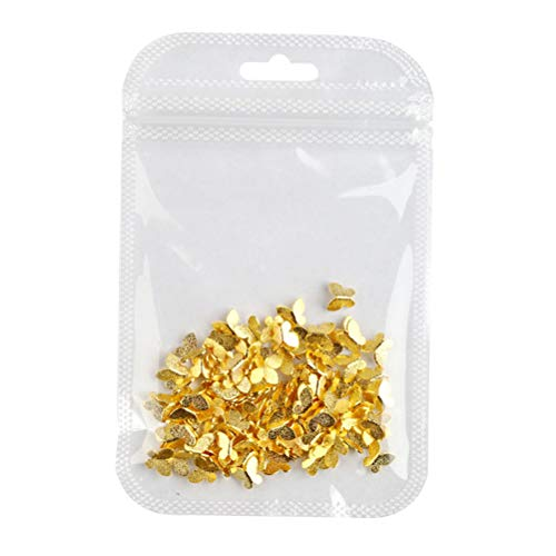 Pixnor Mariposa Nail Art Decal Golden 3D Butterfly Ornament Metal Gold Nail Nail Sticker para Diy Nail Manicure Supplies 100Pcs