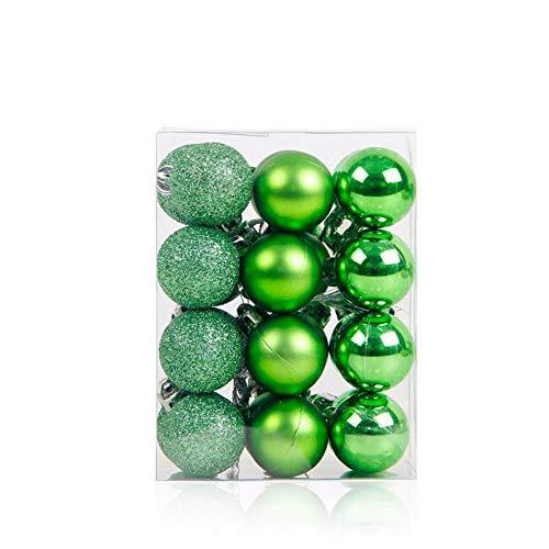 MoGist, 24 Palline Di Natale Opache, Glitterate, Lucide, Per Albero Di Natale, Decorazione Albero Di Natale, Verde, 9*6*12Cm