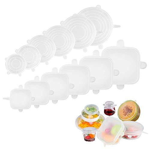 Tapas elásticas de Silicona, Tapas Flexibles de Silicona Tapas para Alimentos Tapas expandibles para contenedores Tazones Latas Latas Sartenes Tazas Cocinar Cubierta para Ahorrar Alimentos