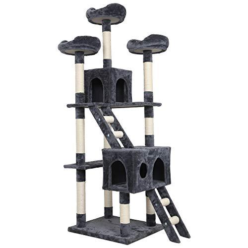 Meerveil Kratzbaum XL XXL, großer Kletterbaum mit Kratzsisal, Stabiler Kratzbaum Katzenbaum, Säulen mit Natürlicher Sisal Umwickelt (Grau)