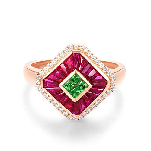 Daesar Anillo Compromiso Mujer,Anillos de Oro Rosa 18K Cuadrado con Rubí Rojo Verde 1.01ct Diamante 0.19ct Talla 6,75-25